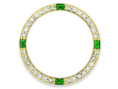 custom diamond and emerald bezel for Rolex timepieces