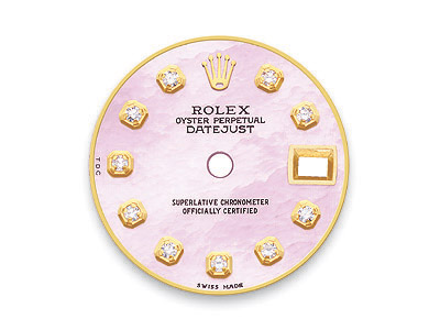 Pink mother of pearl dial with 10 round brilliant diamonds for Rolex DateJust watch