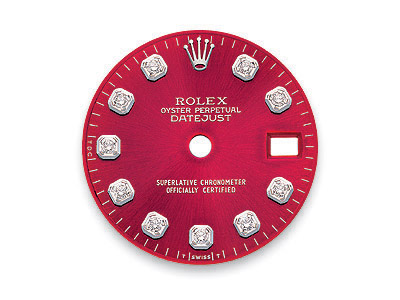 Red dial with 10 round brilliant diamonds for Rolex DateJust watch