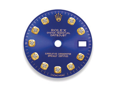 Blue dial with 10 round brilliant diamonds for Rolex DateJust watch