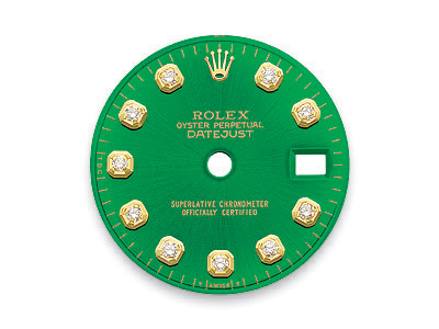 Green dial with 10 round brilliant diamonds for Rolex DateJust watch