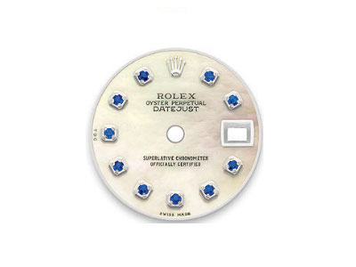 Mother of pearl dial with 10 sapphire stones for Rolex DateJust watch