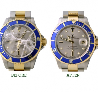 Rolex Submariner sapphire crystal replacement before & after repair