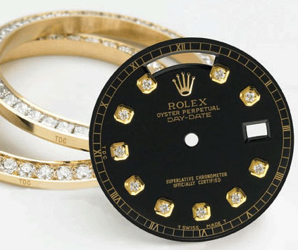 Rolex diamond dial and bezel set